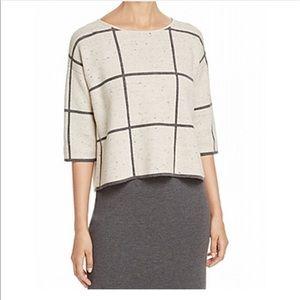 Eileen Fisher Beige Gray Grid 3/4 Sleeve Knit Top